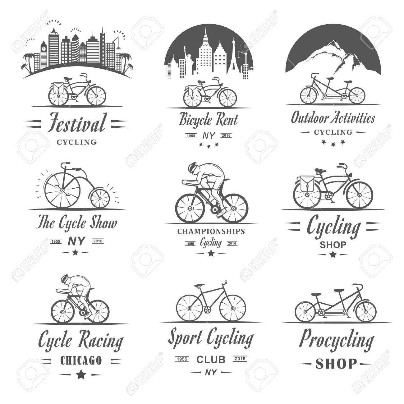 Set Di Vintage Moderno E Retrò Logo Badge Ed Etichette Bicicletta Bici Pro Negozio Attrezzature E Club Bicicletta Segno Tipografico Icone E
