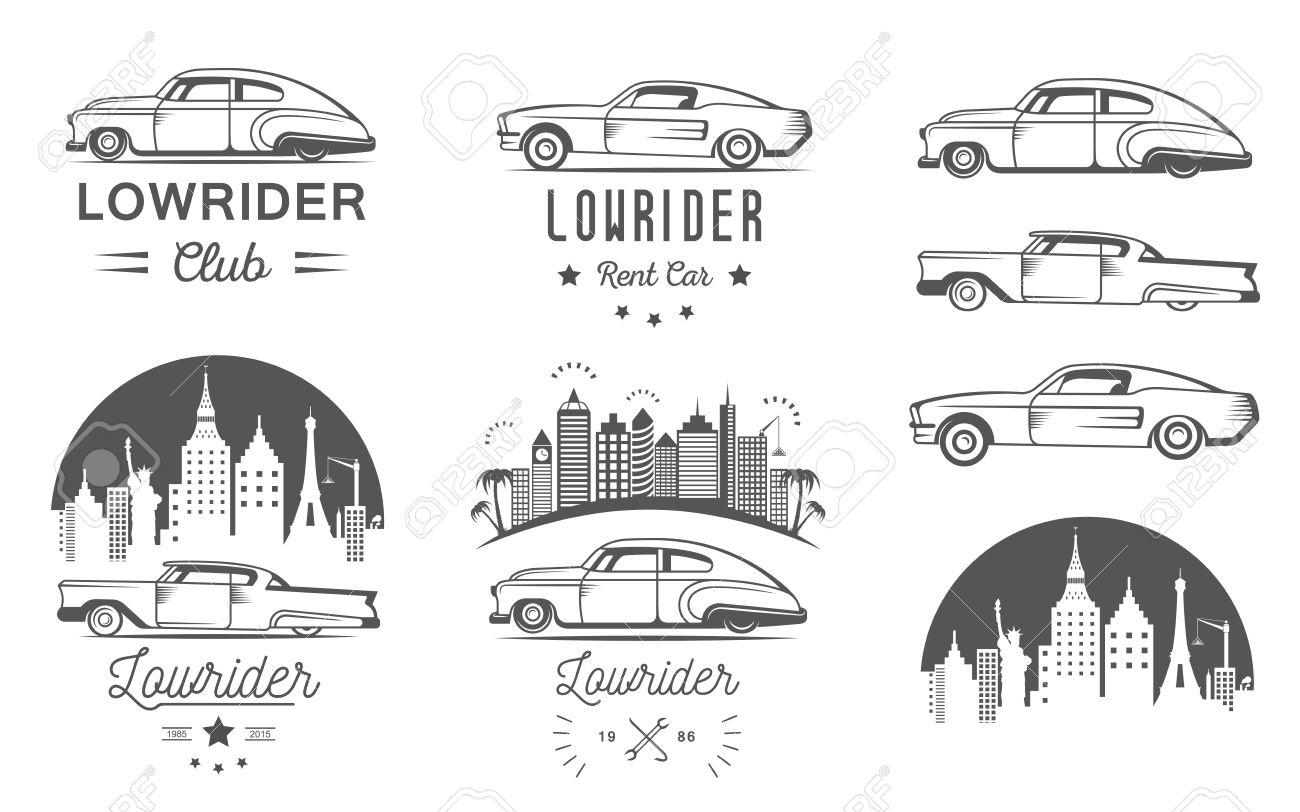 Design car club logo - Set Vintage Lowrider Logo Badge Sign Emblems Sticers And Elements Design