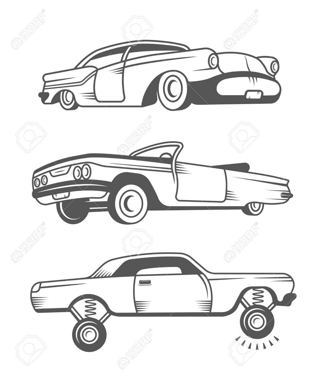 Set Vintage Lowrider Cars And Elements Design Collection Black White Classic Old Retro