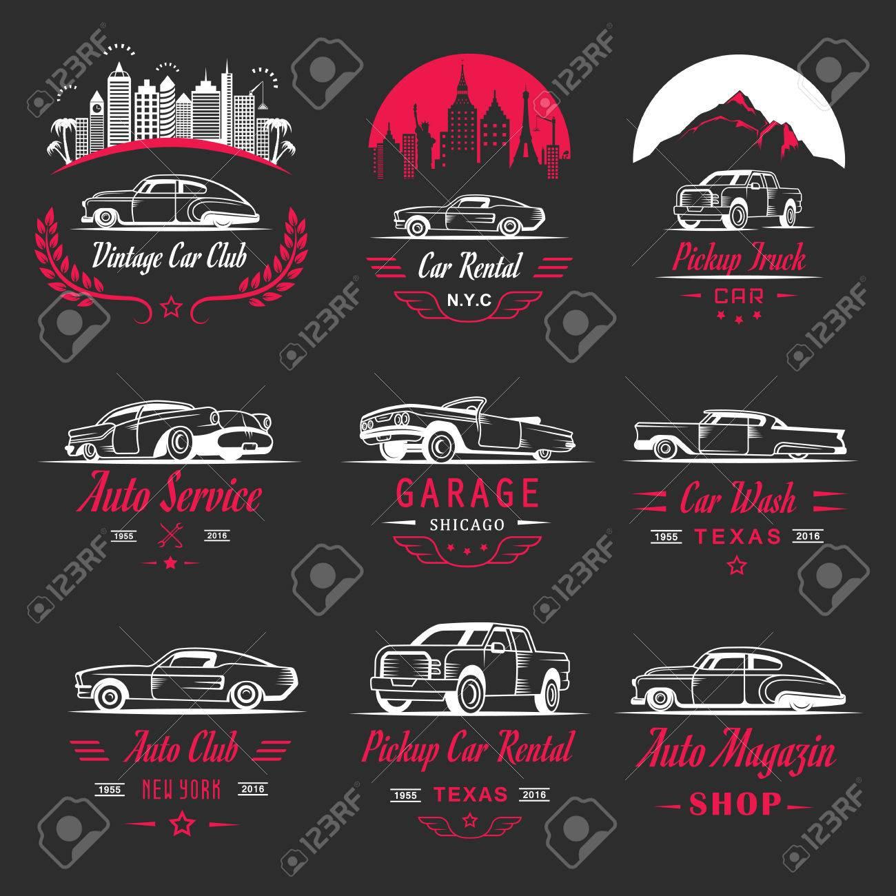 Set Of Vintage Car Symbols And Sign. Car Service And Car Sale ...