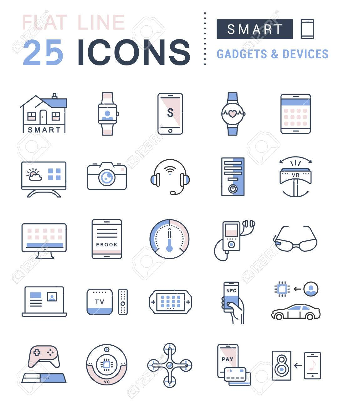 Set vector line icons in flat design smart device and gadgets, smart, home, car drones and other device with elements for mobile concepts and web apps. Collection modern infographic logo and pictogram - 52126434