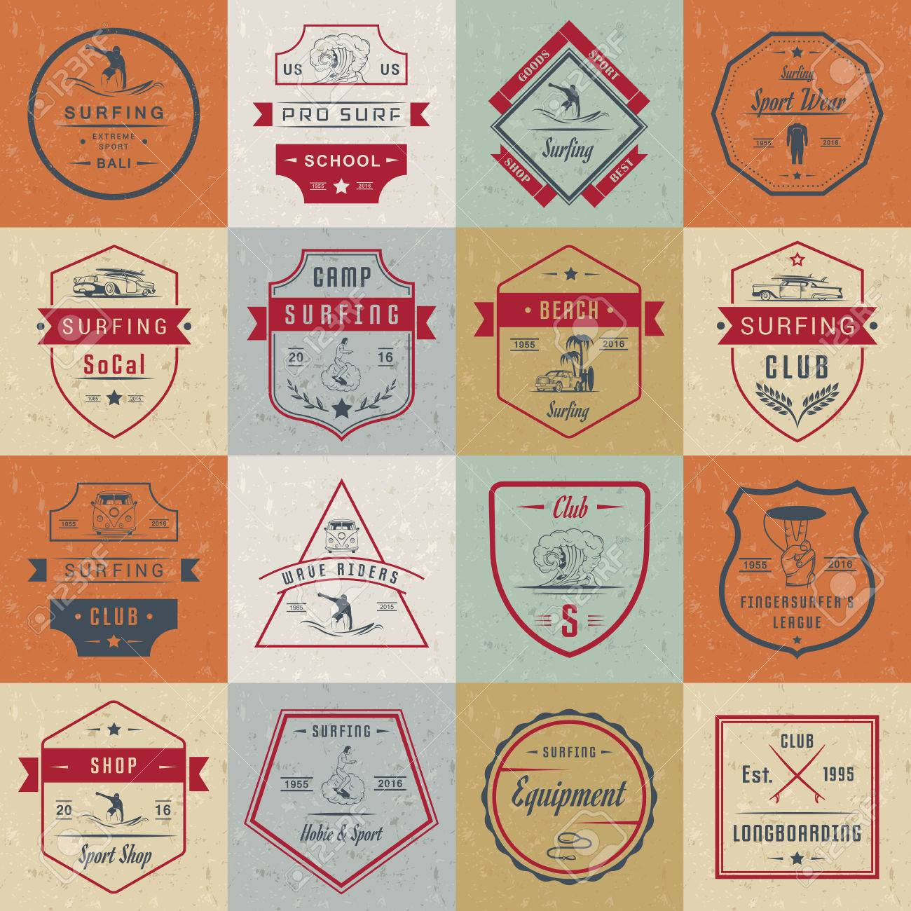 Set of vintage surfing graphics, emblems and badges  Surf collection