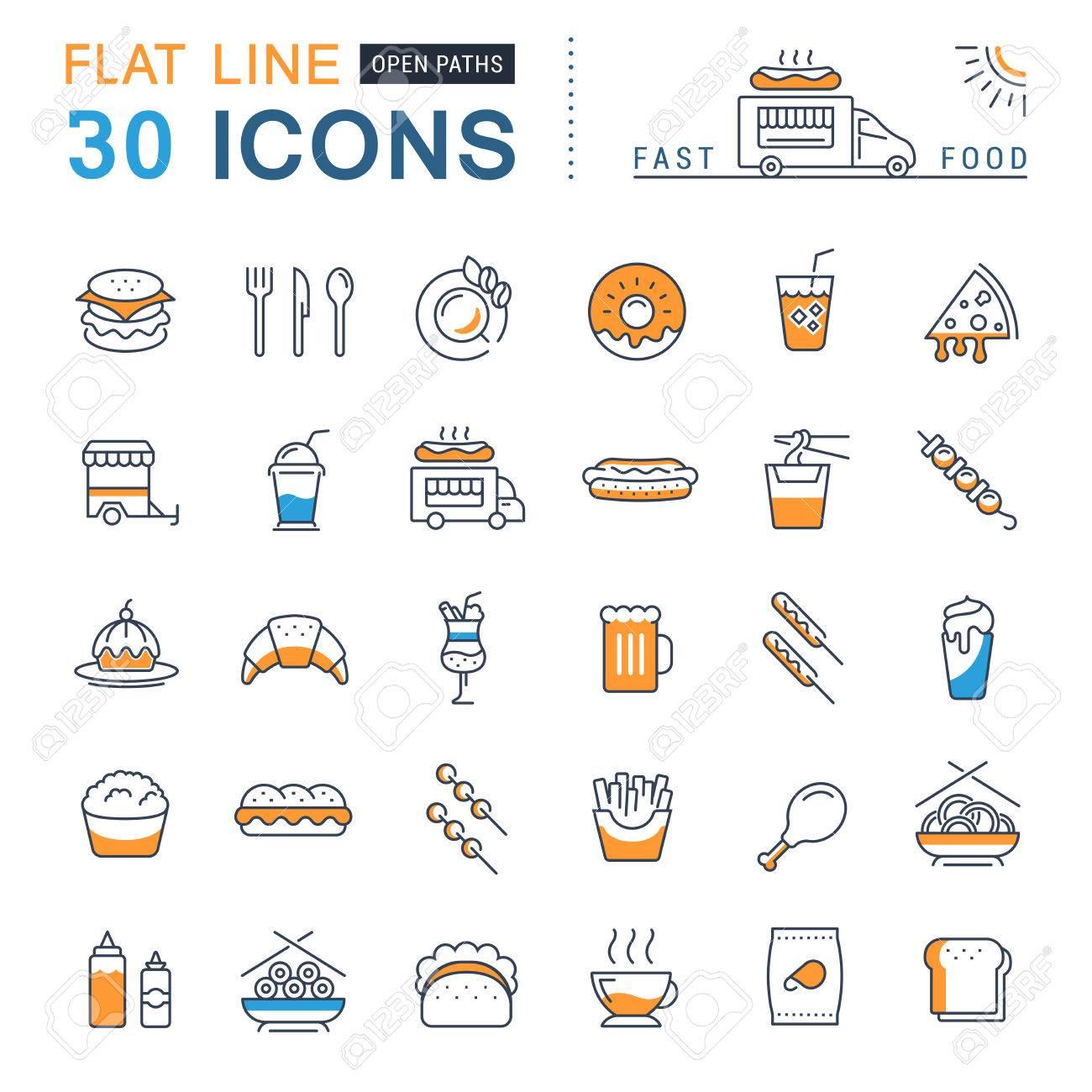 Stellen Sie Vektor Linie Symbole In Flaches Design Fast-Food Und ...