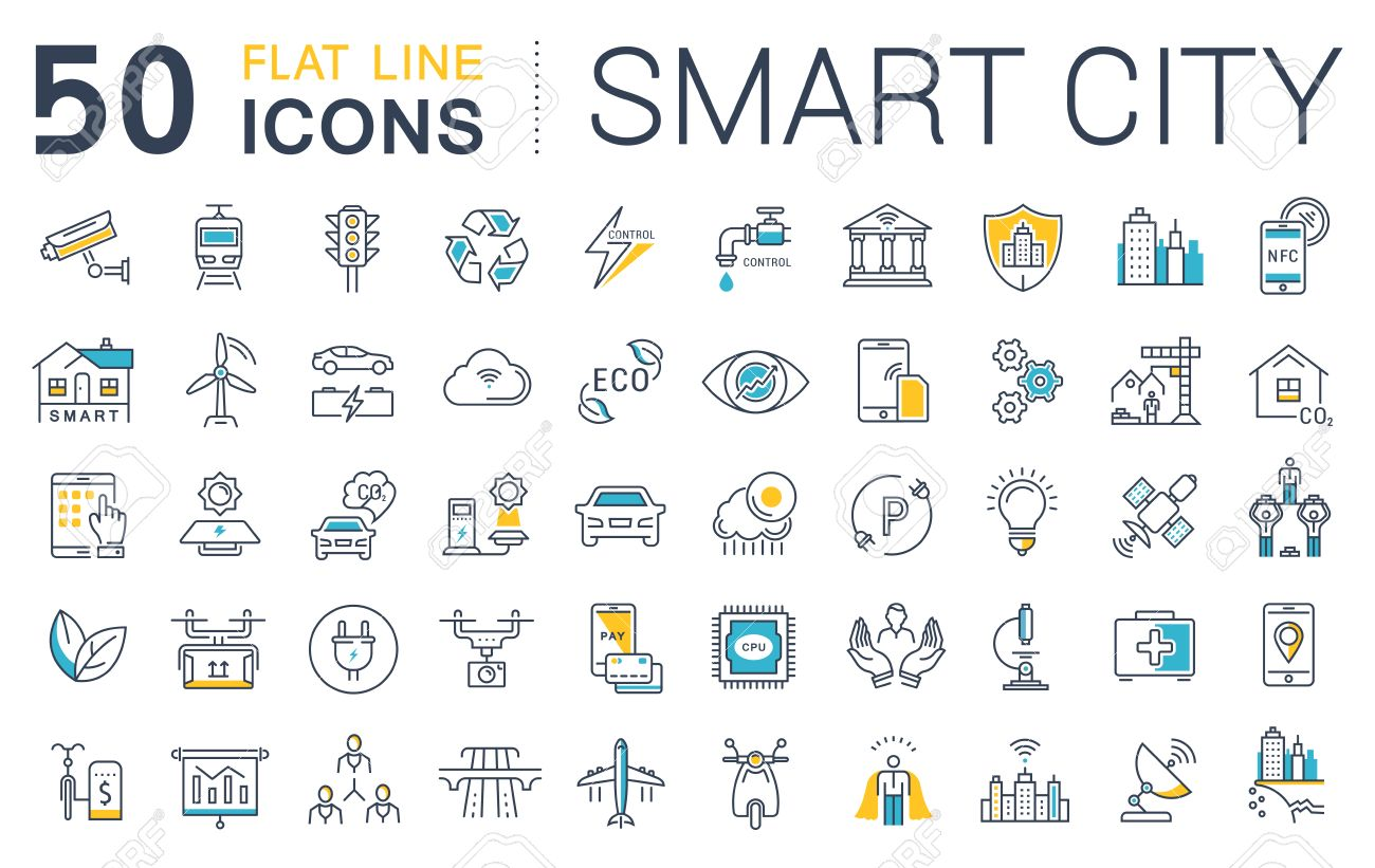 Set vector line icons in flat design smart city and technology with elements for mobile concepts and web apps. Collection modern infographic logo and pictogram. - 56577308