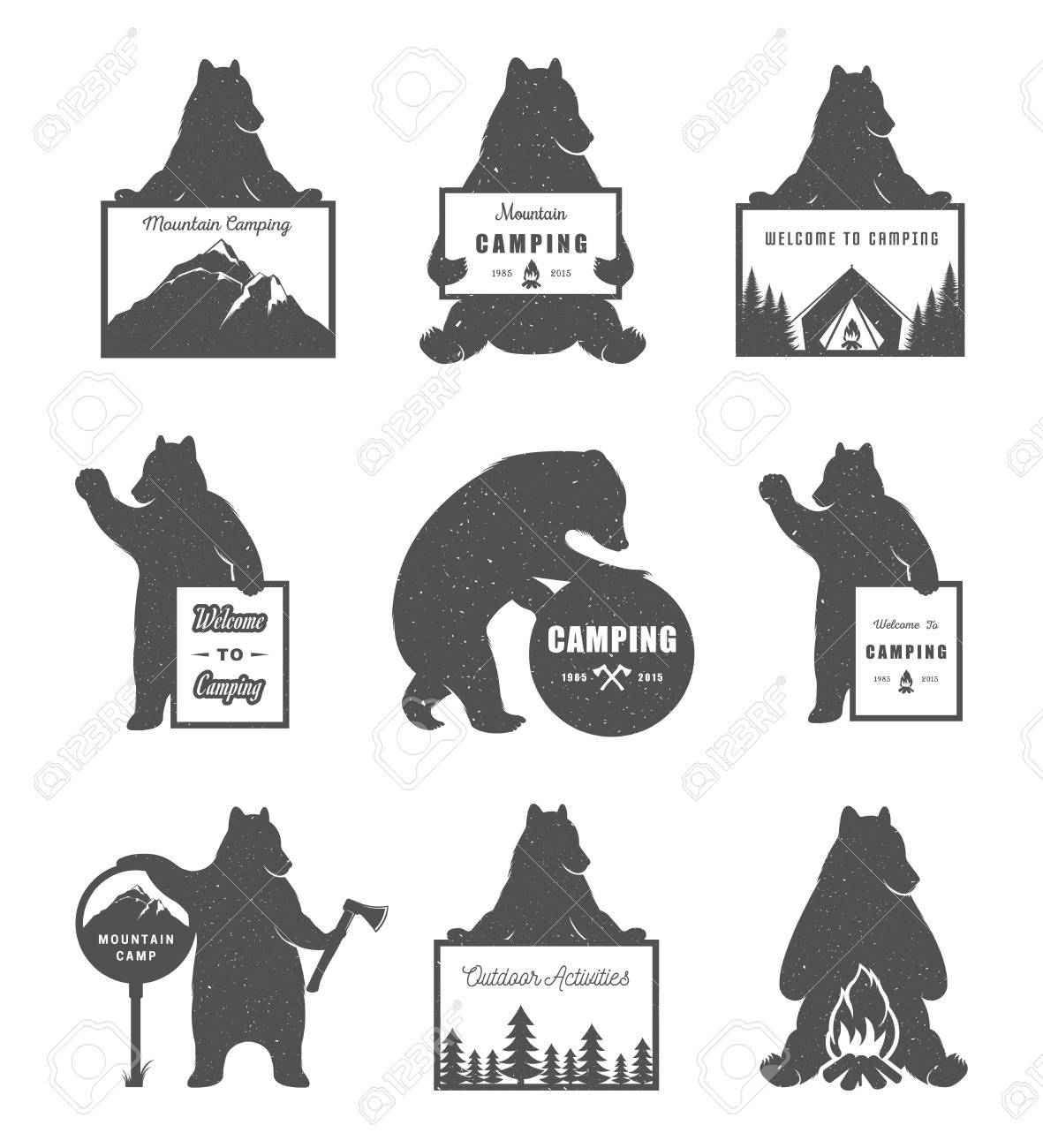 Vintage Illustration Bear With Sign Camping And Outdoor Activities