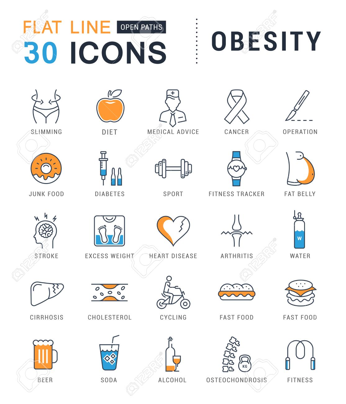Set vector line icons in flat design obesity, junk food and health with elements for mobile concepts and web apps. Collection modern infographic and pictogram. - 57523806