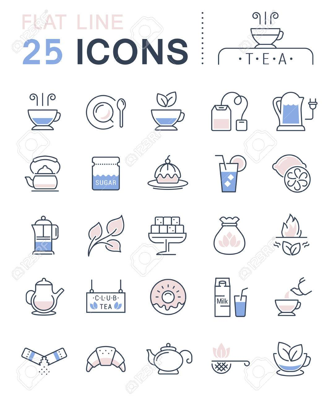 Set vector line icons in flat design tea and breakfast with elements