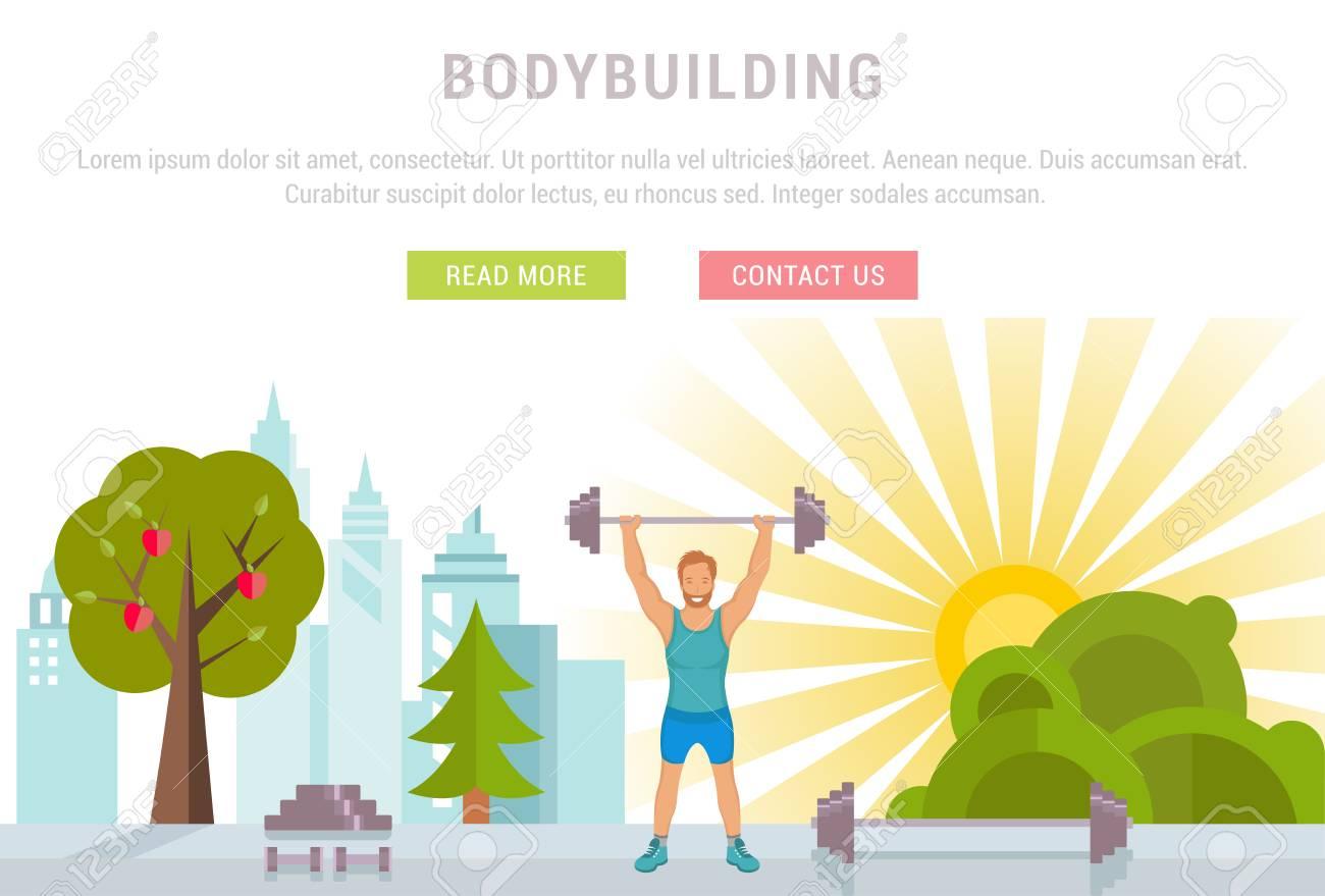 Vector Sport Illustration Banner. Bodybuilding Man Fitness And ...