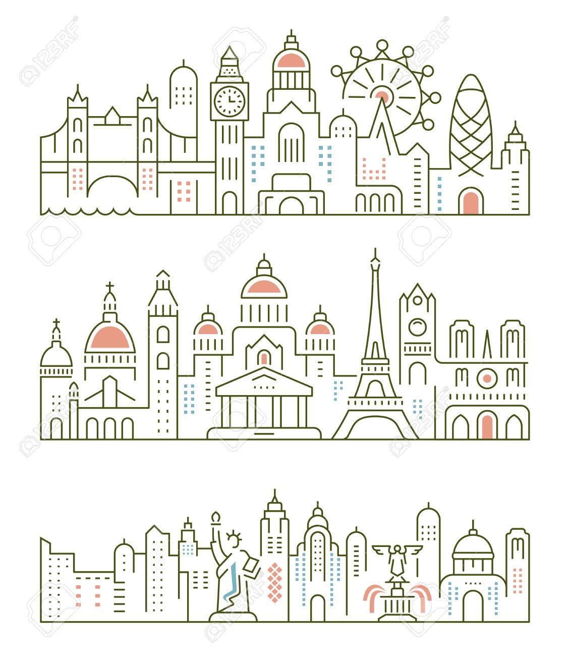 Set Flache Linie Vektor-Banner Zum Thema Paris, London, New York ...