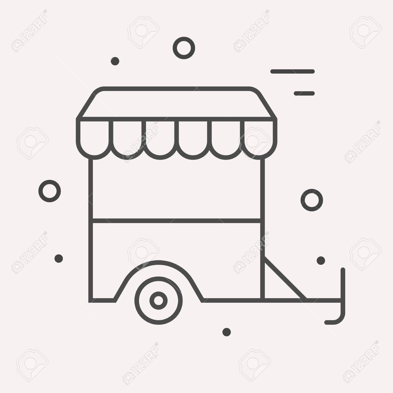 Logo Or Label Meal Line Style Logotype Template With Junk Food