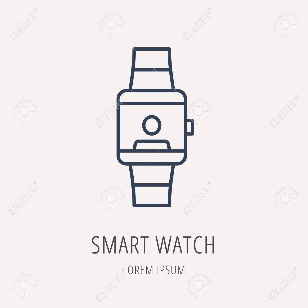 logo or label smart watch. Line style logotype. Easy to use business  template. 8716594fb