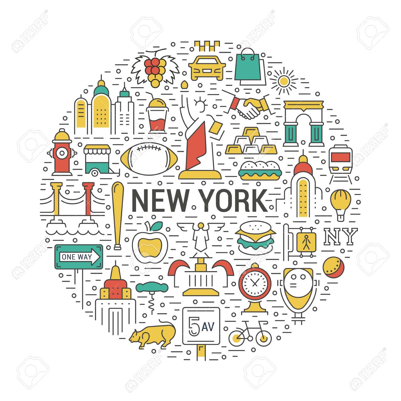 Usa And New York City Concept Symbols Isolated On Background