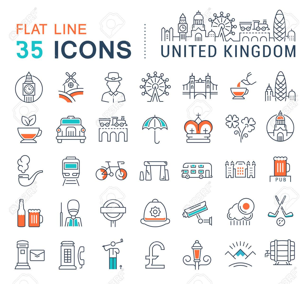 9395092c55125 Set Vector Line Icons In Flat Design United Kingdom