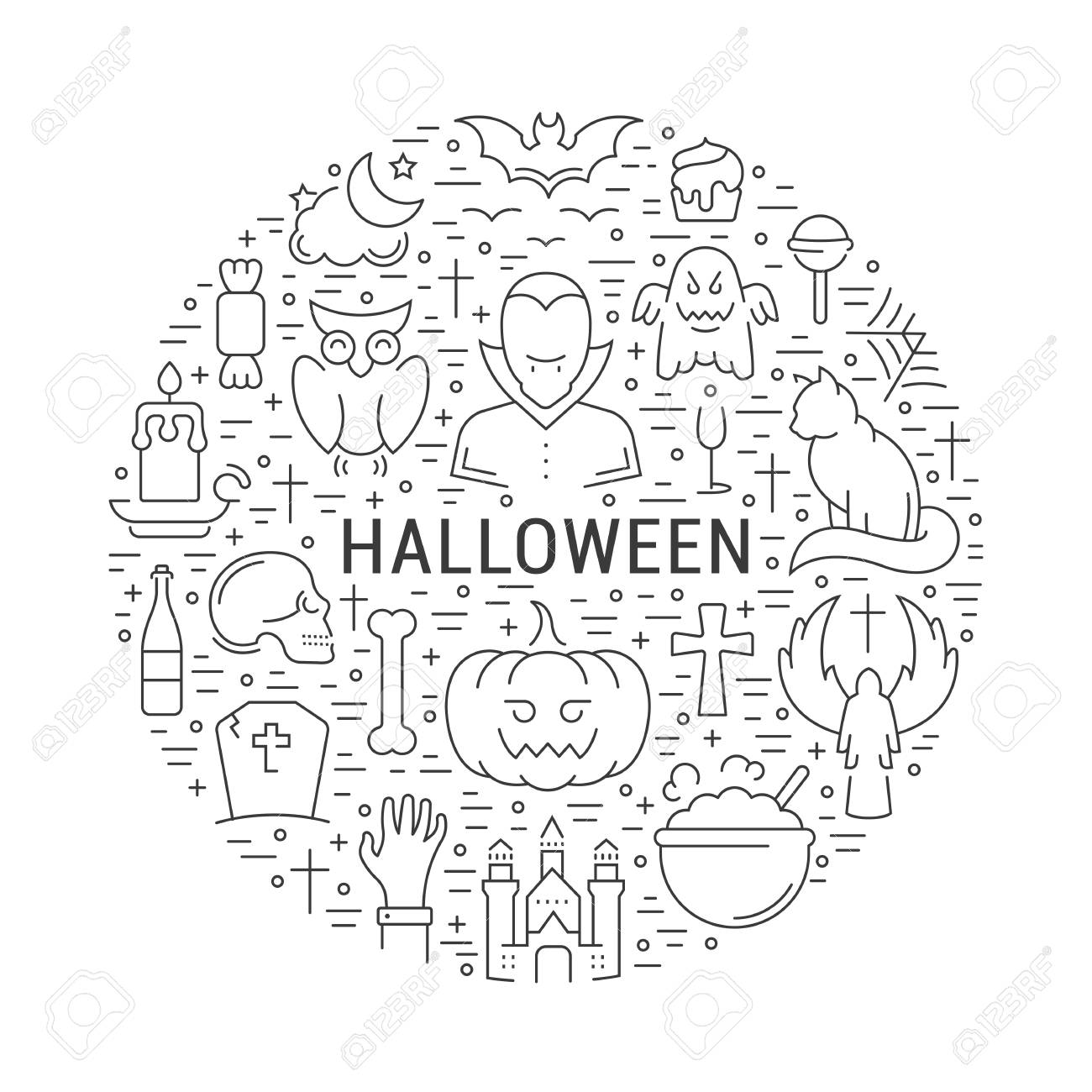 Halloween Concept Template Invitation Symbols Isolated On