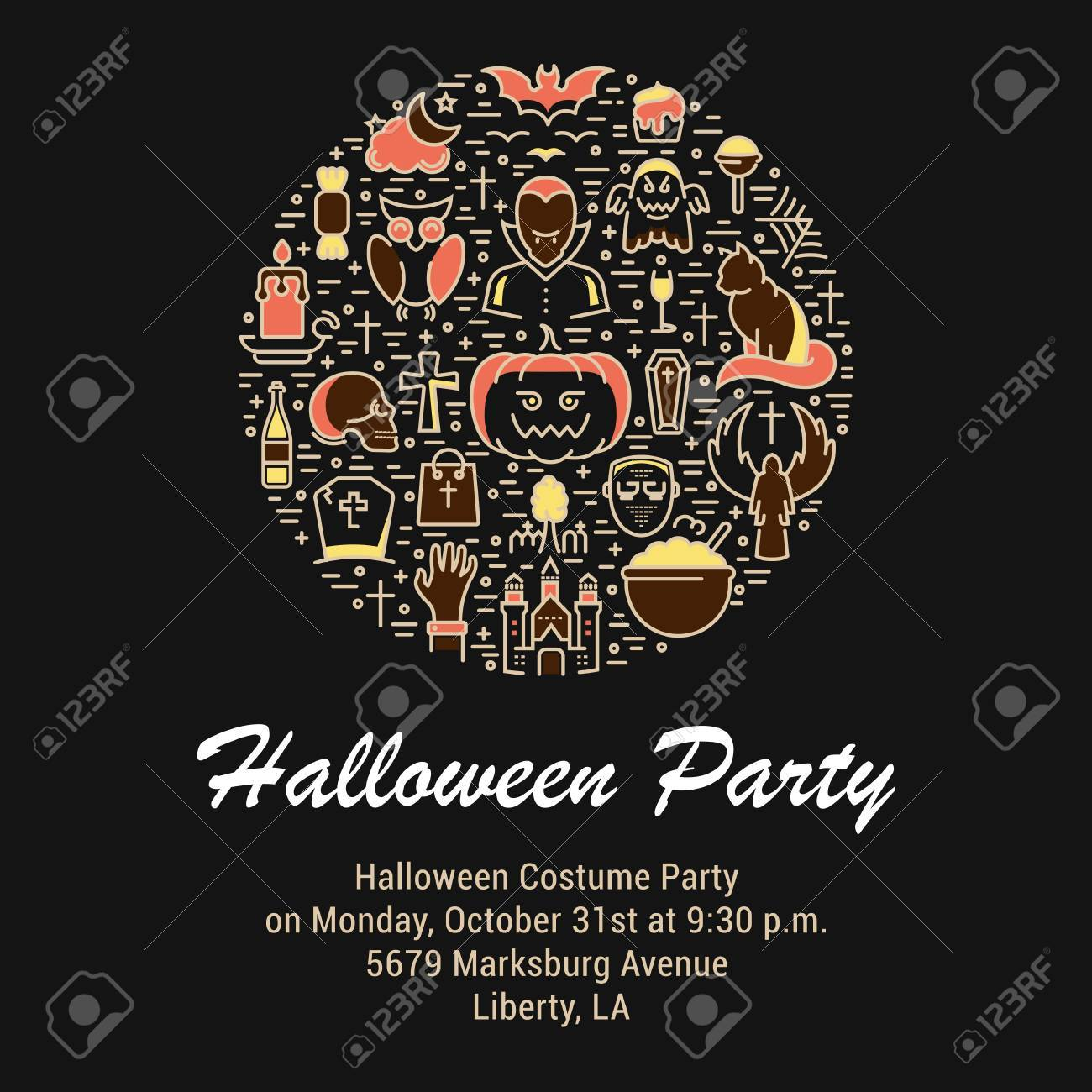 halloween concept template invitation symbols isolated on