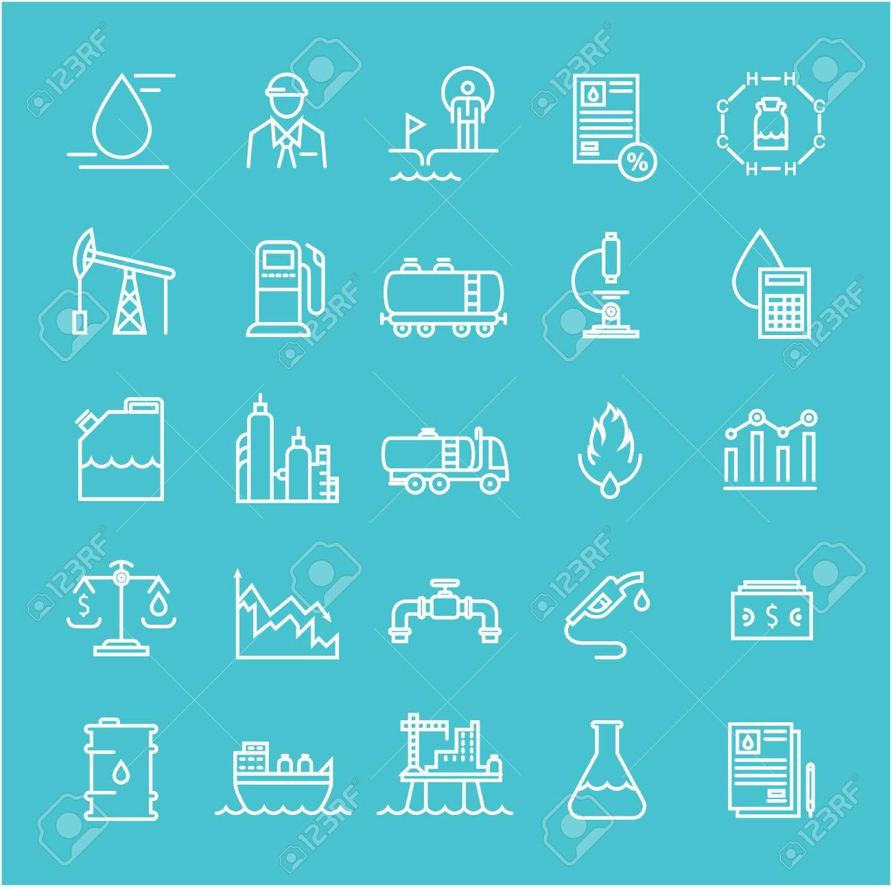 impostare linea di icone vettoriali con industria petrolifera ... - Mobili E Mobili Potenza