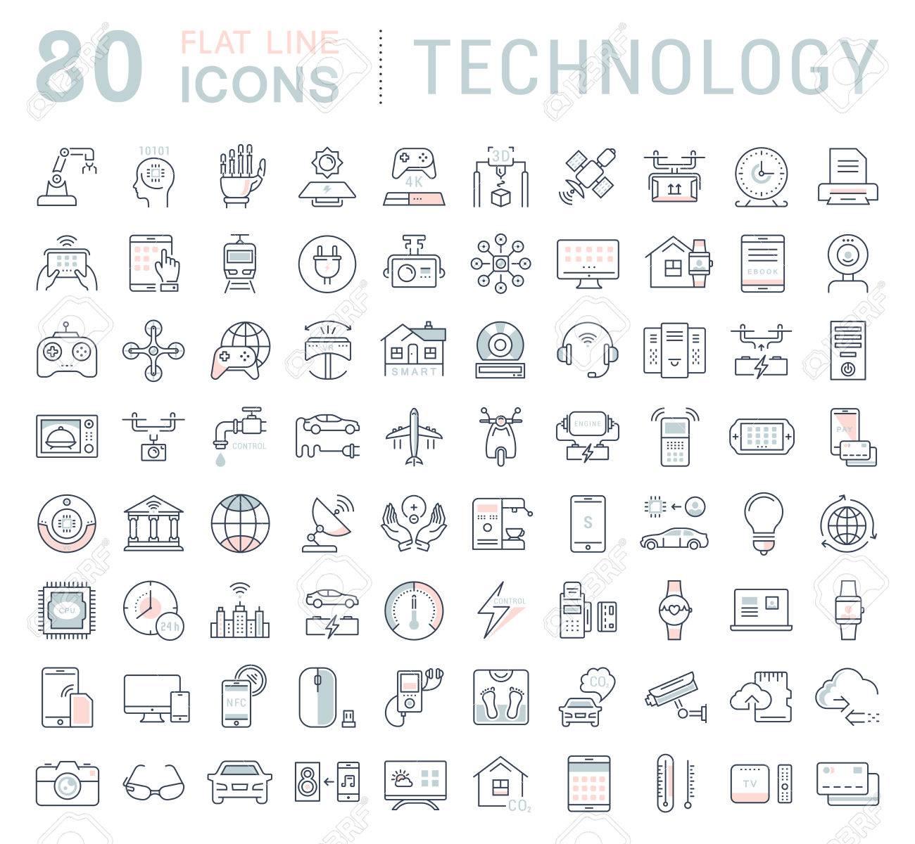 Fije Los Iconos De La Línea En La Tecnología De Diseño Plano, Coche  Eléctrico, La Ciudad Inteligente, Casa, Internet De Las Cosas, De Pago En  Línea.