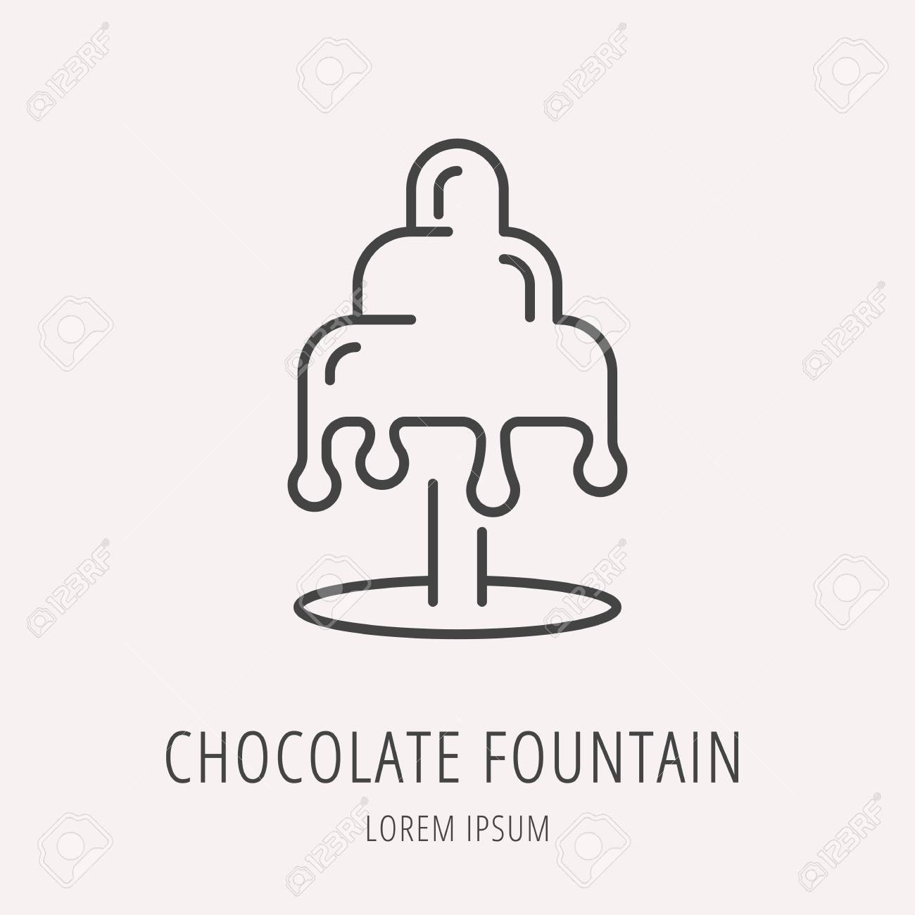 Logotipo O Etiqueta De Fuente De Chocolate. Logotipo Estilo De Línea ...