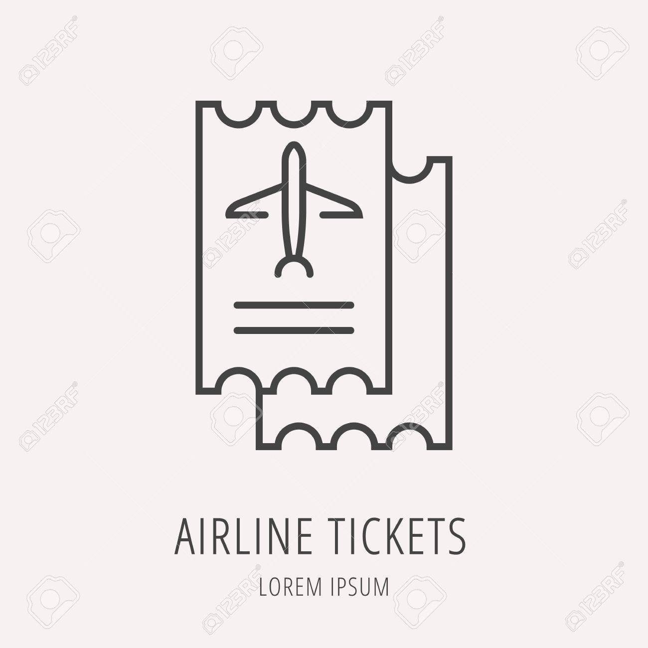 Logo Or Label Airline Tickets Line Style Logotype Easy To Use