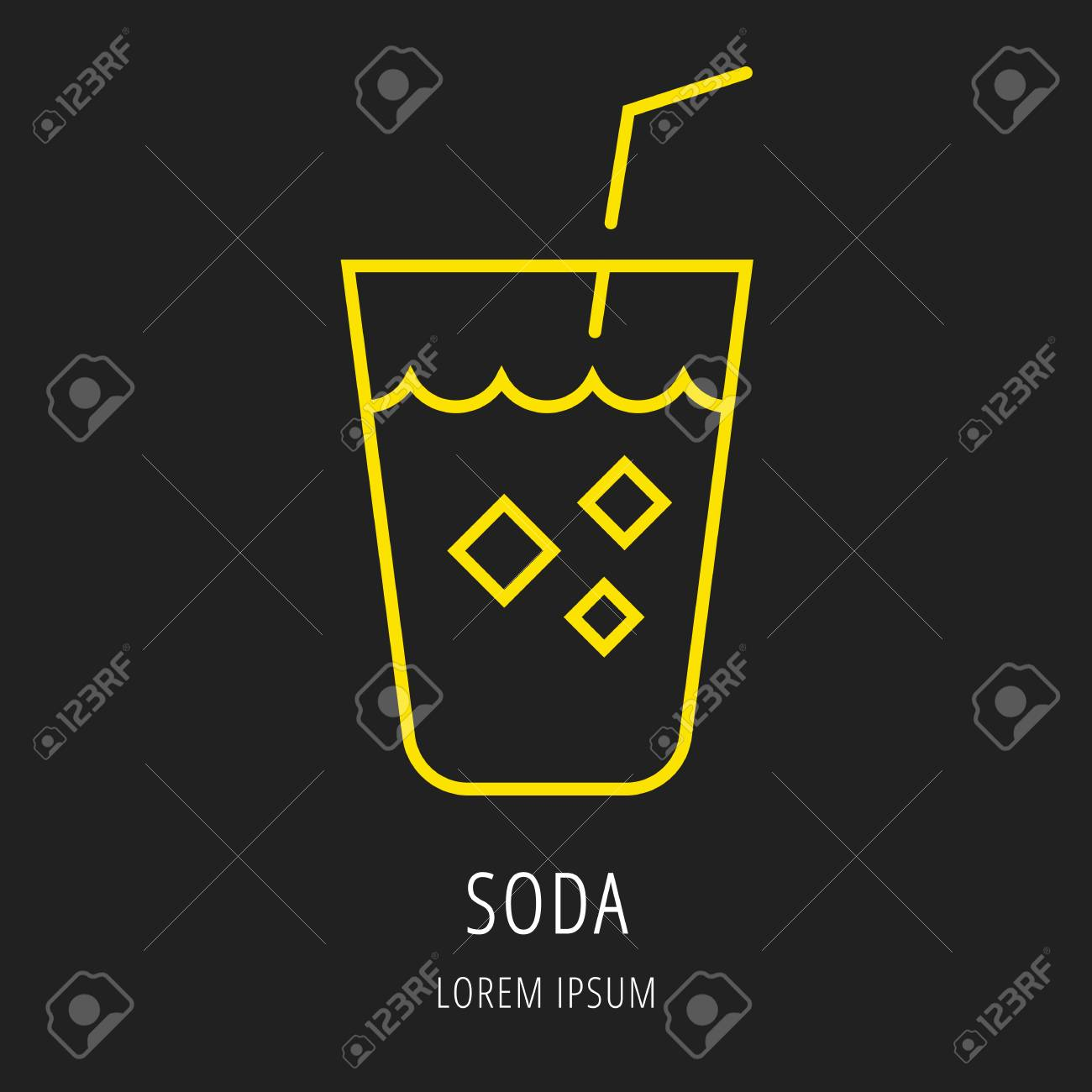 logo or label drink line style logotype template with soda