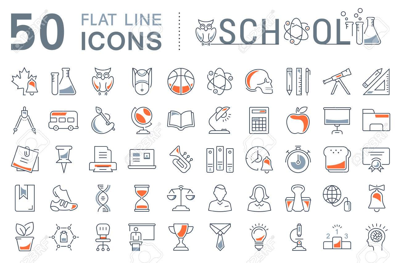 Set vector line icons sign and symbols in flat design school set vector line icons sign and symbols in flat design school with elements for mobile biocorpaavc Images