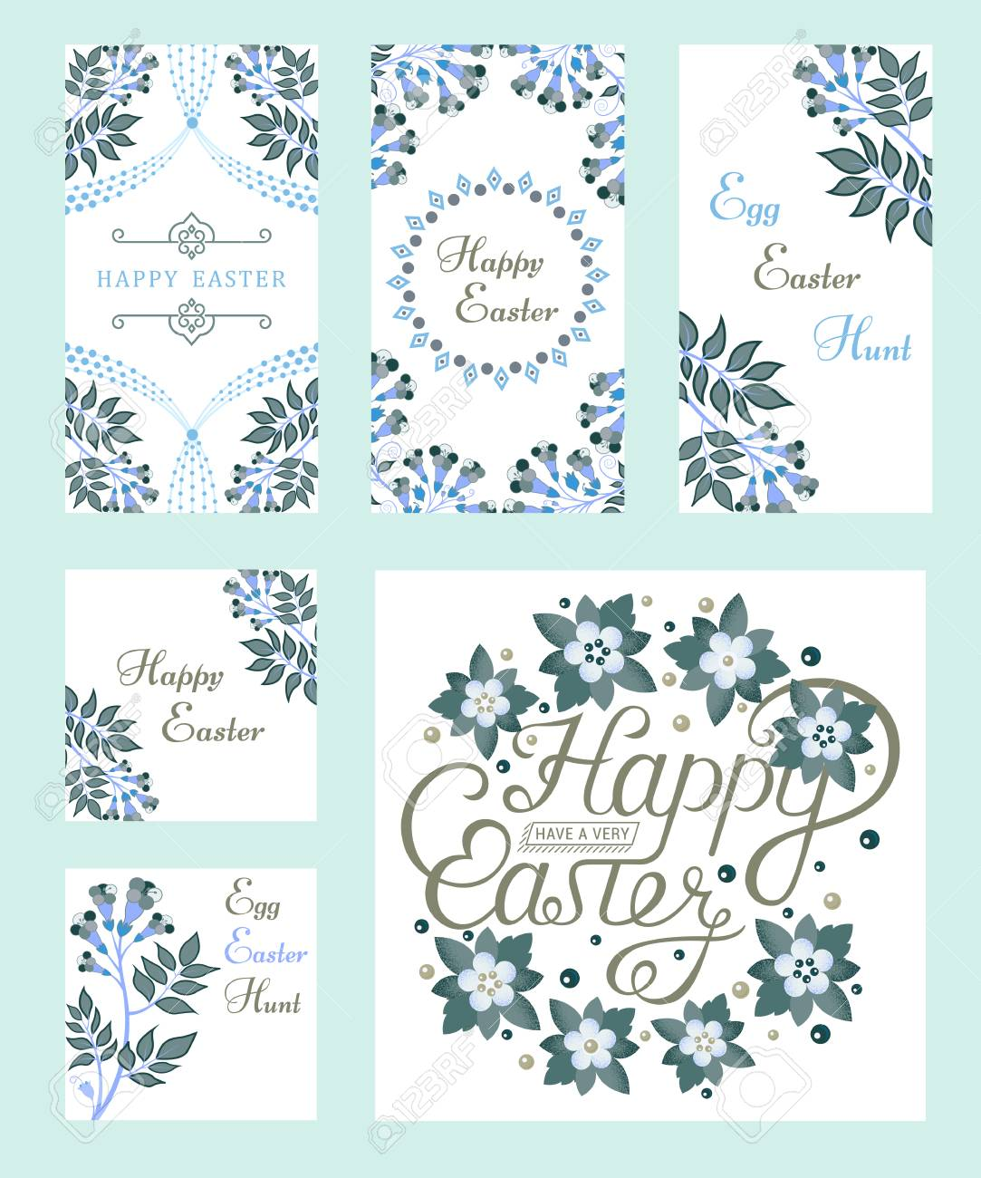 Set Of Vintage Happy Easter Typographic Quotes Vector Illustration