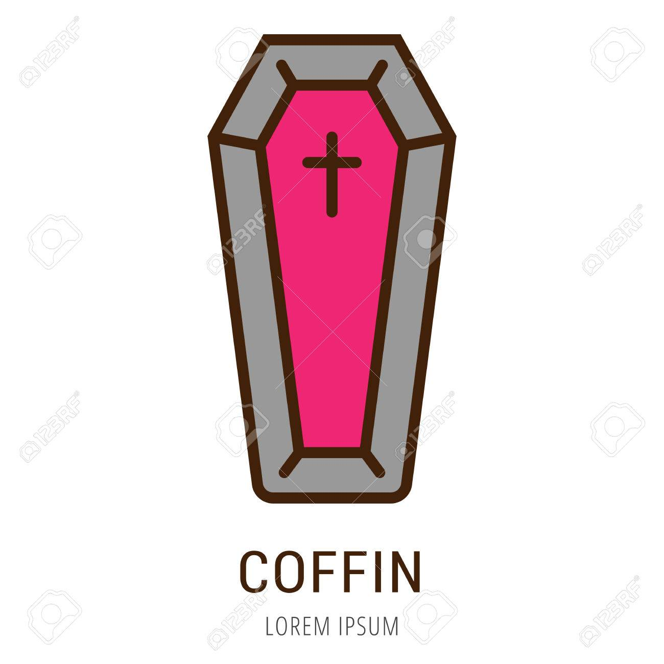 logo or label coffin line style logotype easy to use coffin