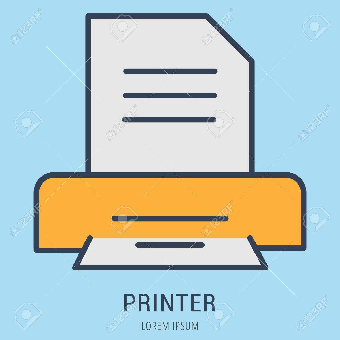 Logotipo O Impresora De Etiquetas. Logotipo Estilo De Línea ...