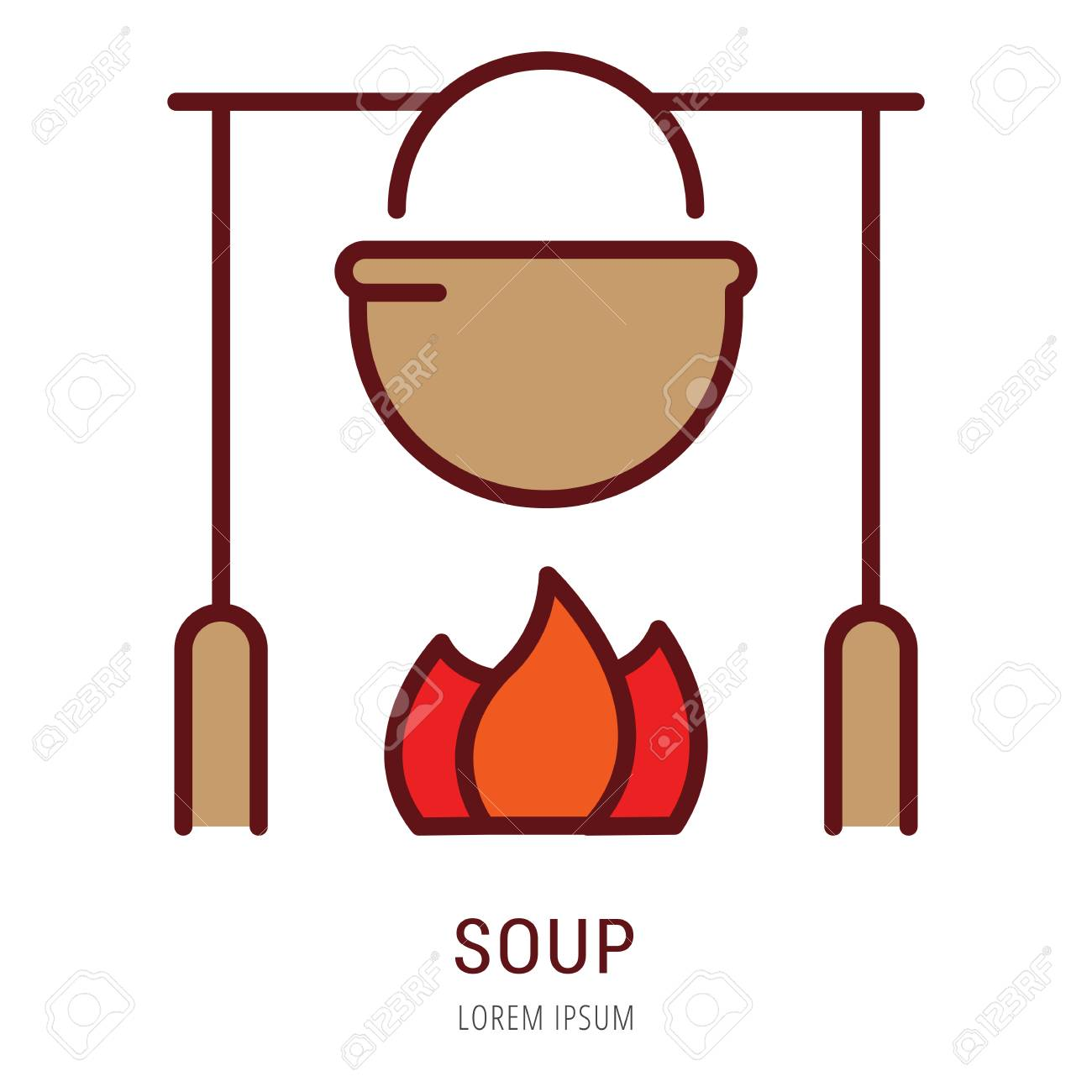 Logo Or Label Soup. Line Style Logotype. Easy To Use Soup Template ...