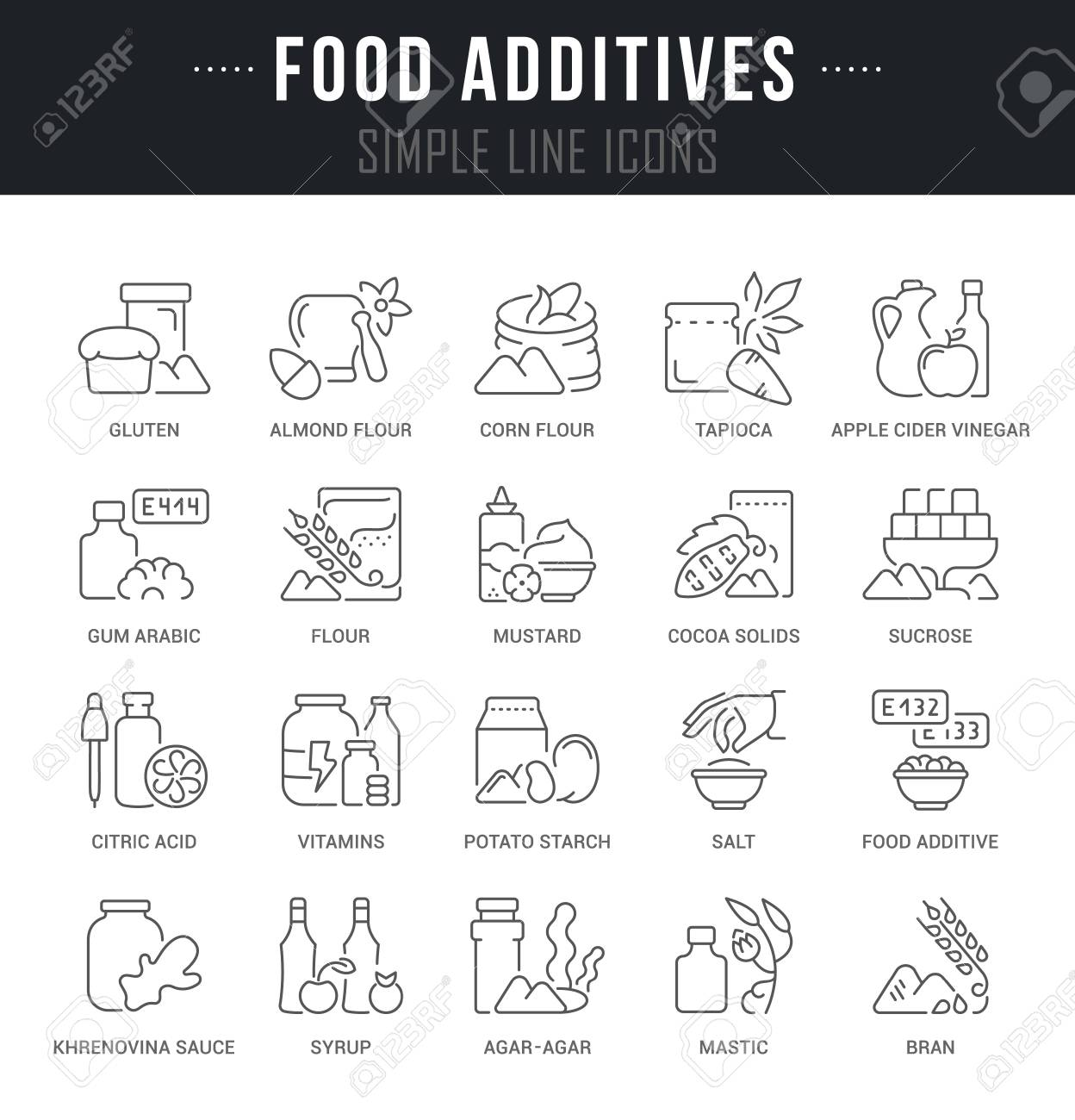 Set of outline signs and symbols of food additives with names set of outline signs and symbols of food additives with names collection vector thin line biocorpaavc