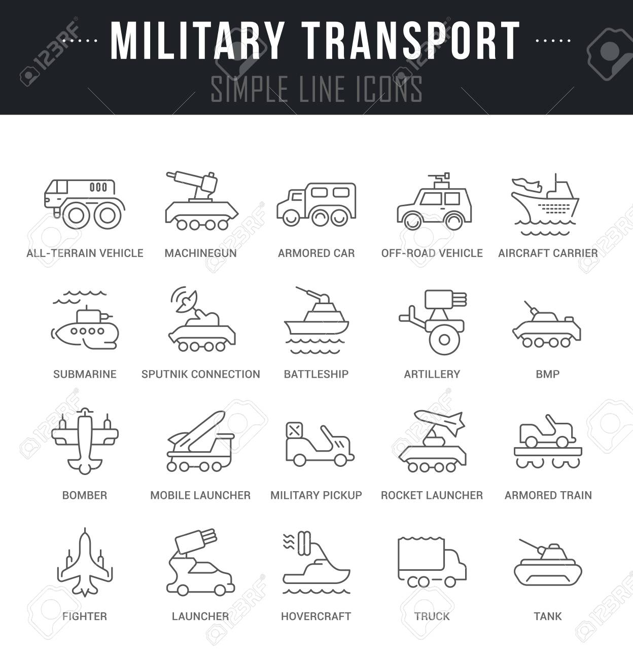 Set of outline signs and symbols of military transport with names