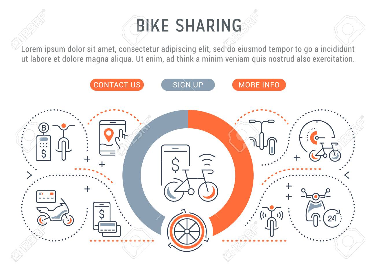 Line banner of bike sharing. Vector illustration of the linear concept of the bike, motorcycle and skateboard rent. - 106287938