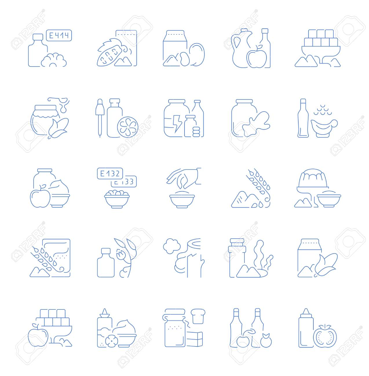 Set of vector line icons, sign and symbols of food additives for modern concepts, web and apps. Collection of infographics elements, logos and pictograms. - 108433684