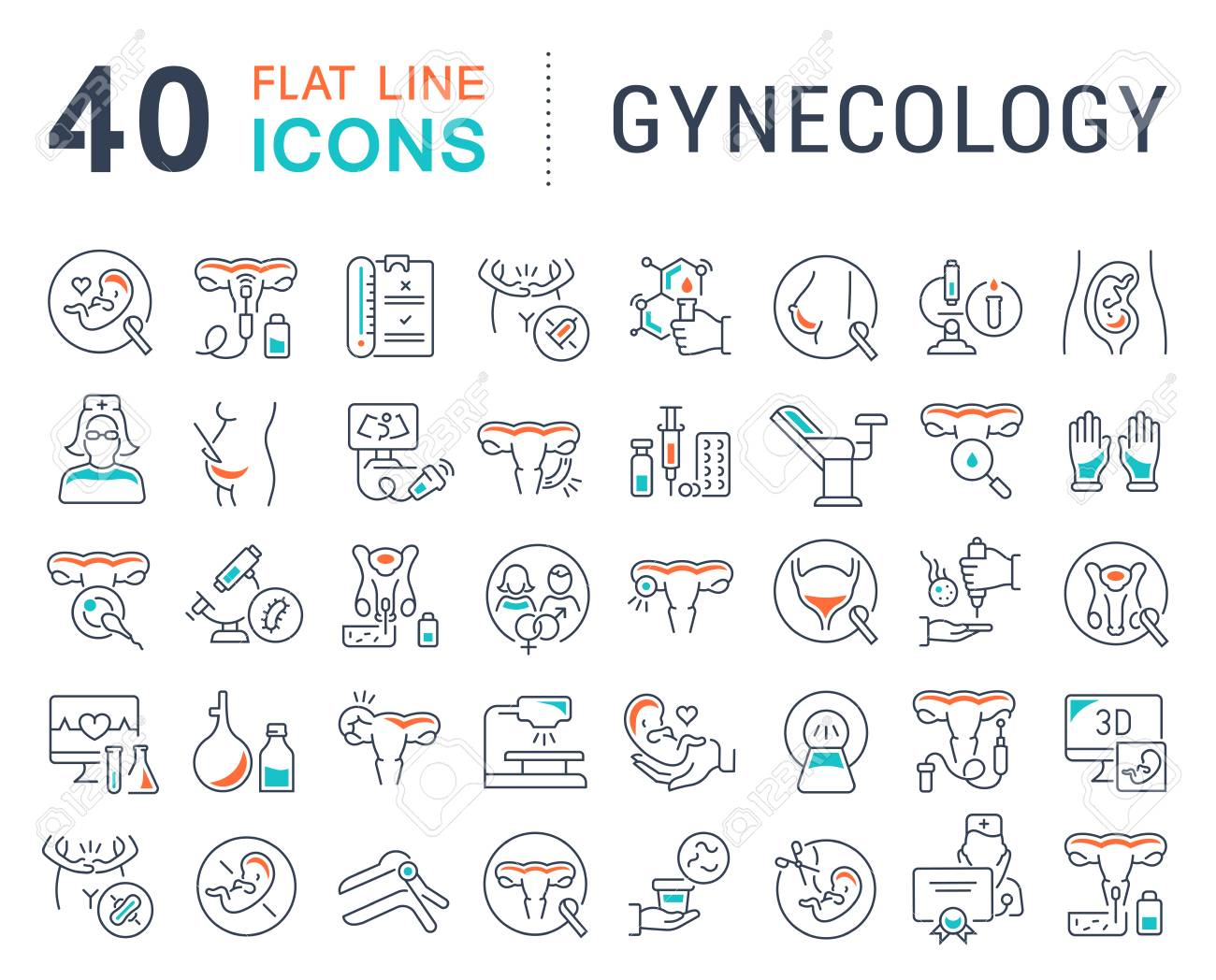 Set of vector line icons of gynecology for modern concepts, web and apps. - 108502934