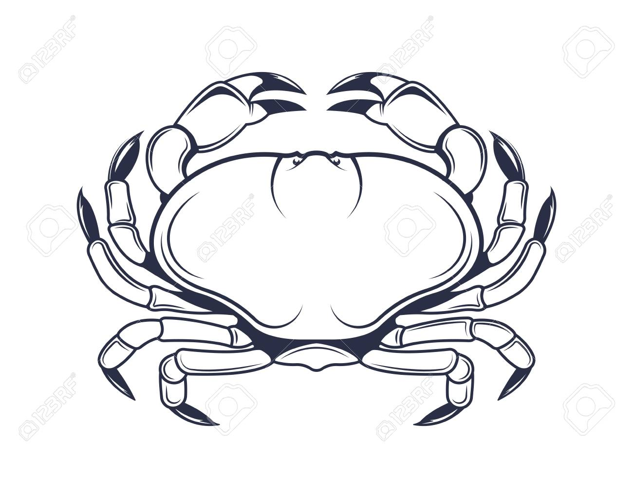 Vector illustration of the crab  Logo of marine products in vintage