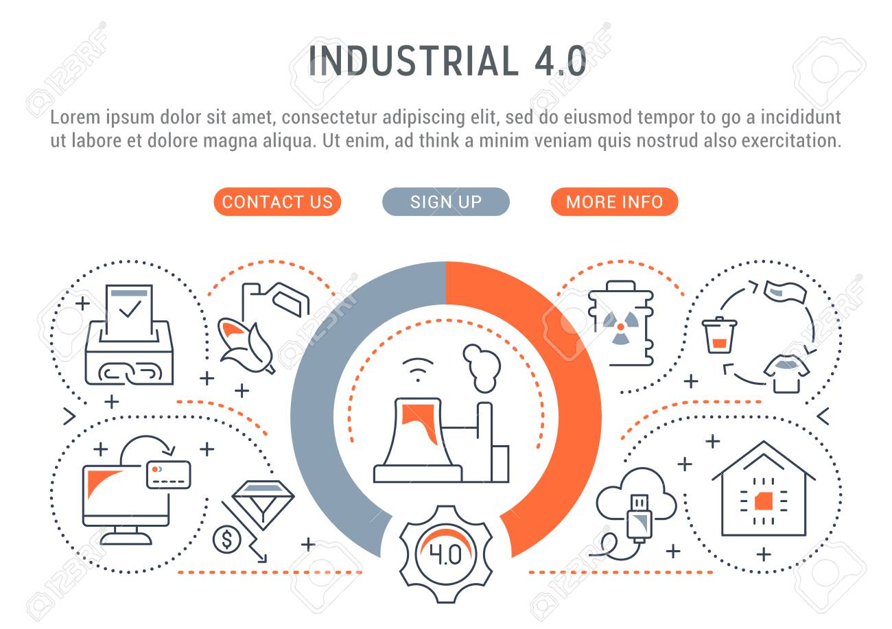 Linear banner of the industrial 4.0. Vector illustration of the industrial revolution. - 111697832