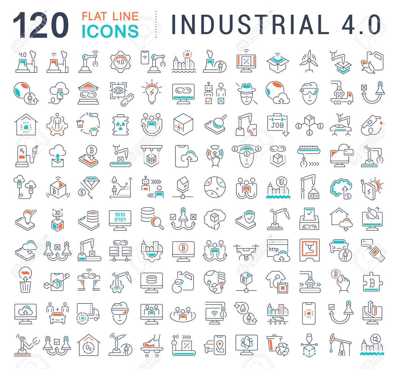 Set of vector line icons of industrial 4.0 for modern concepts, web and apps. - 111697534