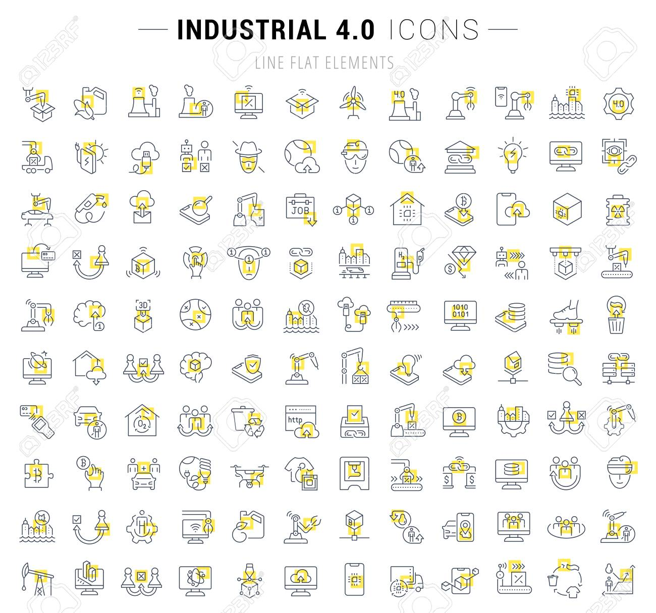 Set of vector line icons and signs with yellow squares of industrial 4.0 for excellent concepts. Collection of infographic and pictogram. - 111697545