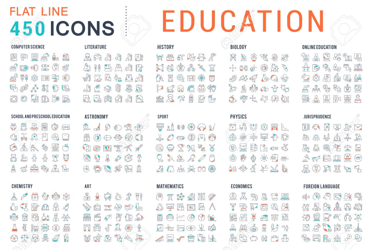 Collection of vector line icons of education. Natural and mathematical science, additional education, tutorship, freelance. Set of flat signs and symbols for web and apps. - 120737377
