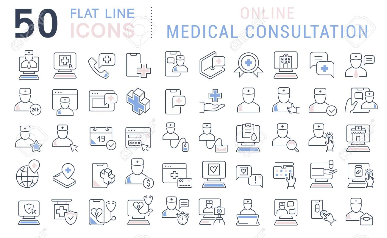 Set of vector line icons of online medical consultation for modern concepts, web and apps. - 125413844