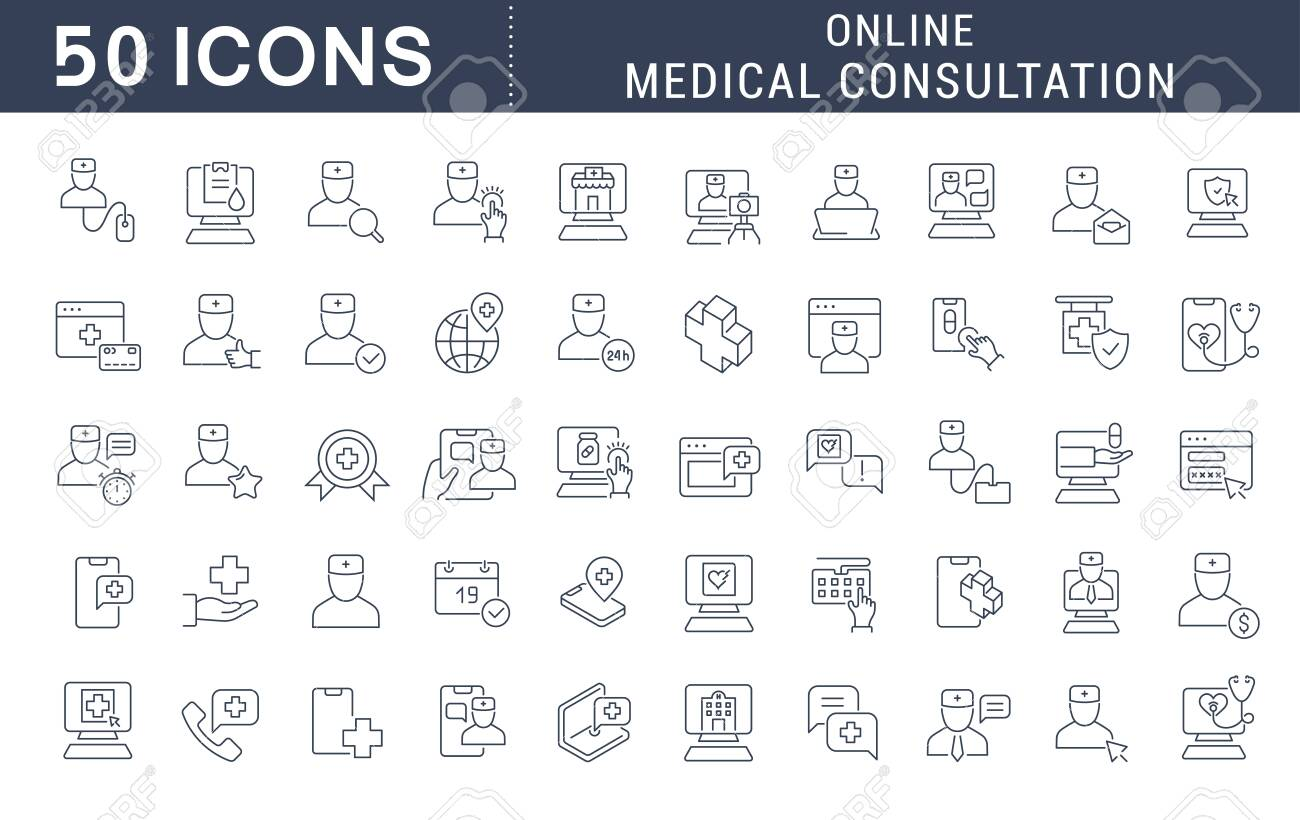 Set of vector line icons of online medical consultation for modern concepts, web and apps. - 125413855