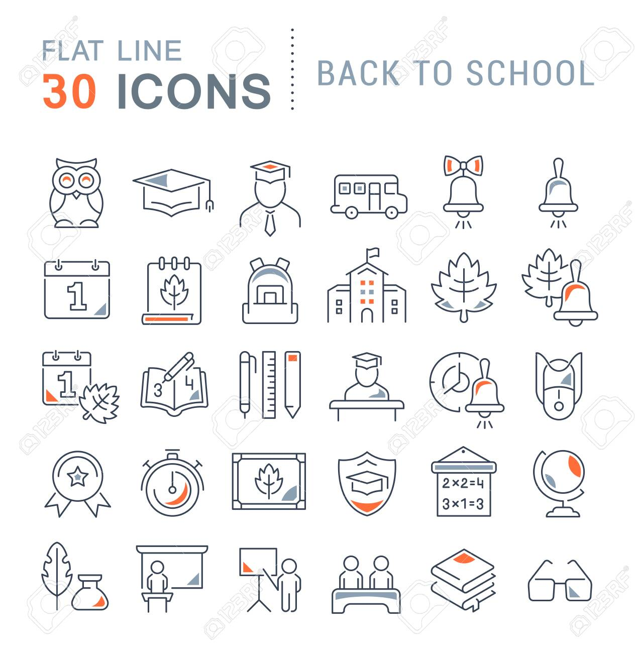 Set of vector line icons of back to school for modern concepts, web and apps. - 125977344