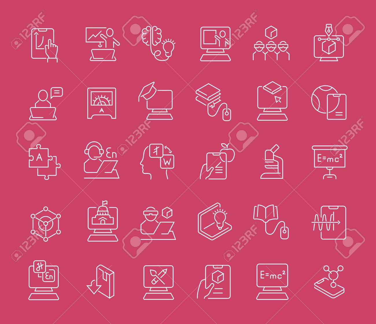 Set of vector line icons of educational technology for modern concepts, web and apps. - 125977808