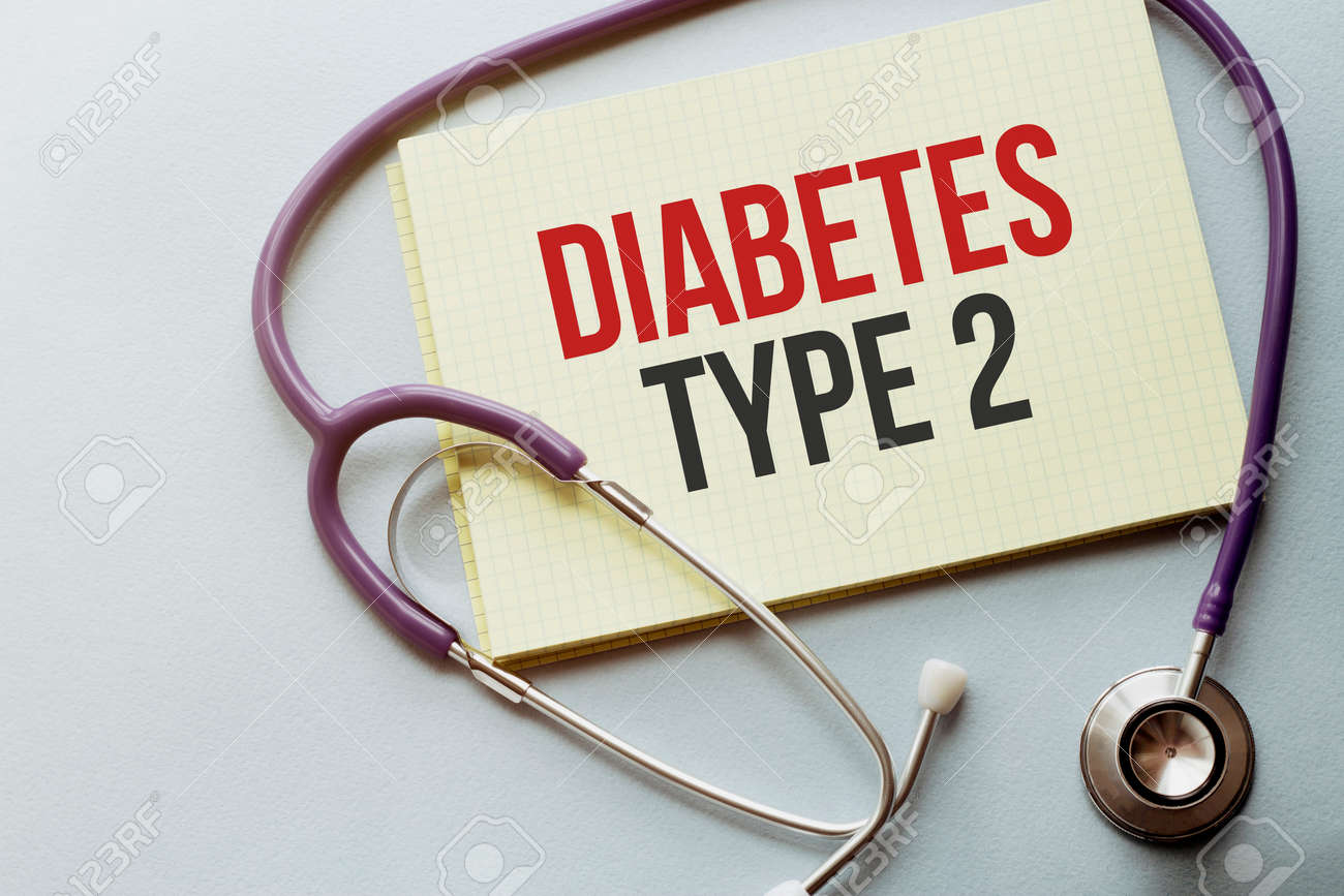 On a purple background a stethoscope with yellow list with text diabetes TYPE 2 - 154691817