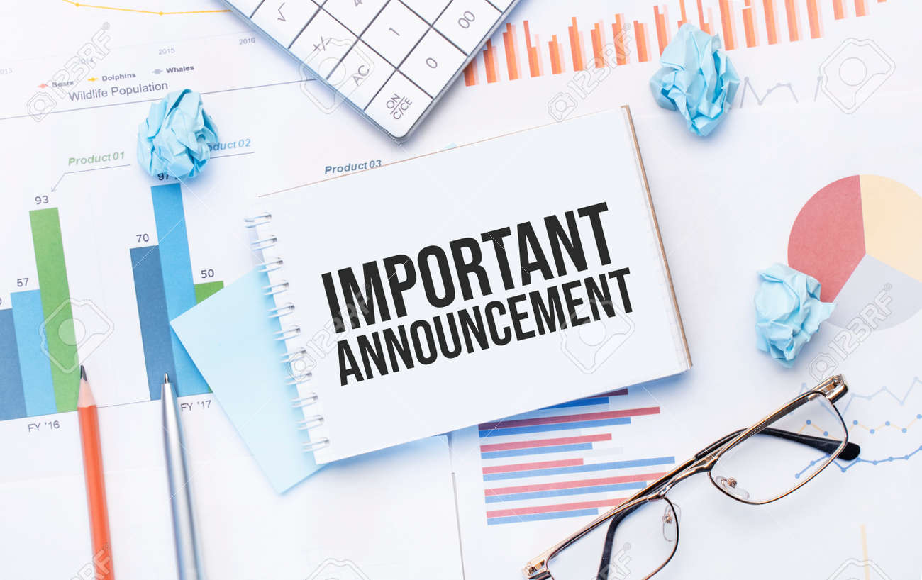 Notepad with text Important Announcement on the business charts and pen, business - 173913526