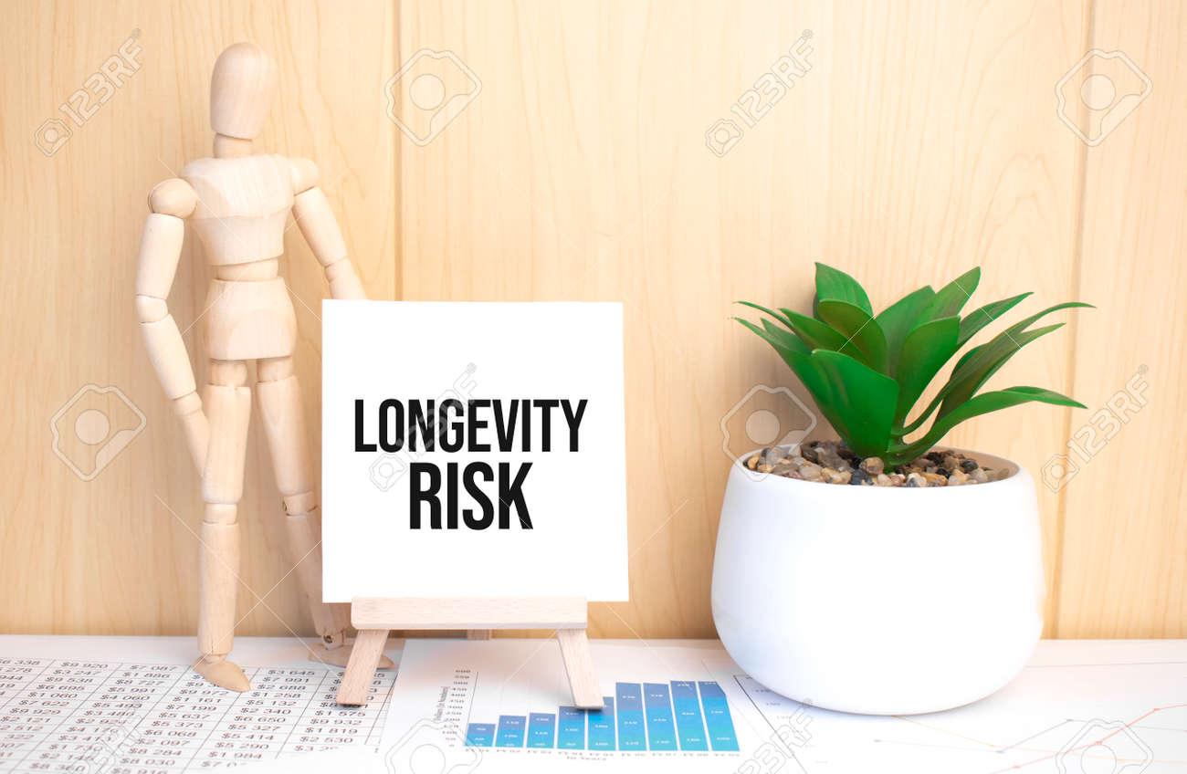 text LONGEVITY RISK on easel with office tools and paper.Top view. - 173913520