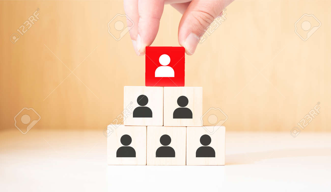 Human resource management and recruitment business concept, Hand putting wood cube block on top pyramid, Copy space - 174275495