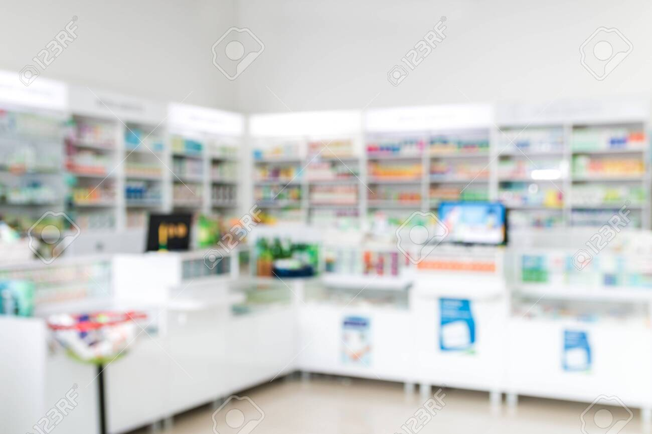 blurred background of cashier, counter in pharmacy or in hospital - 140012919