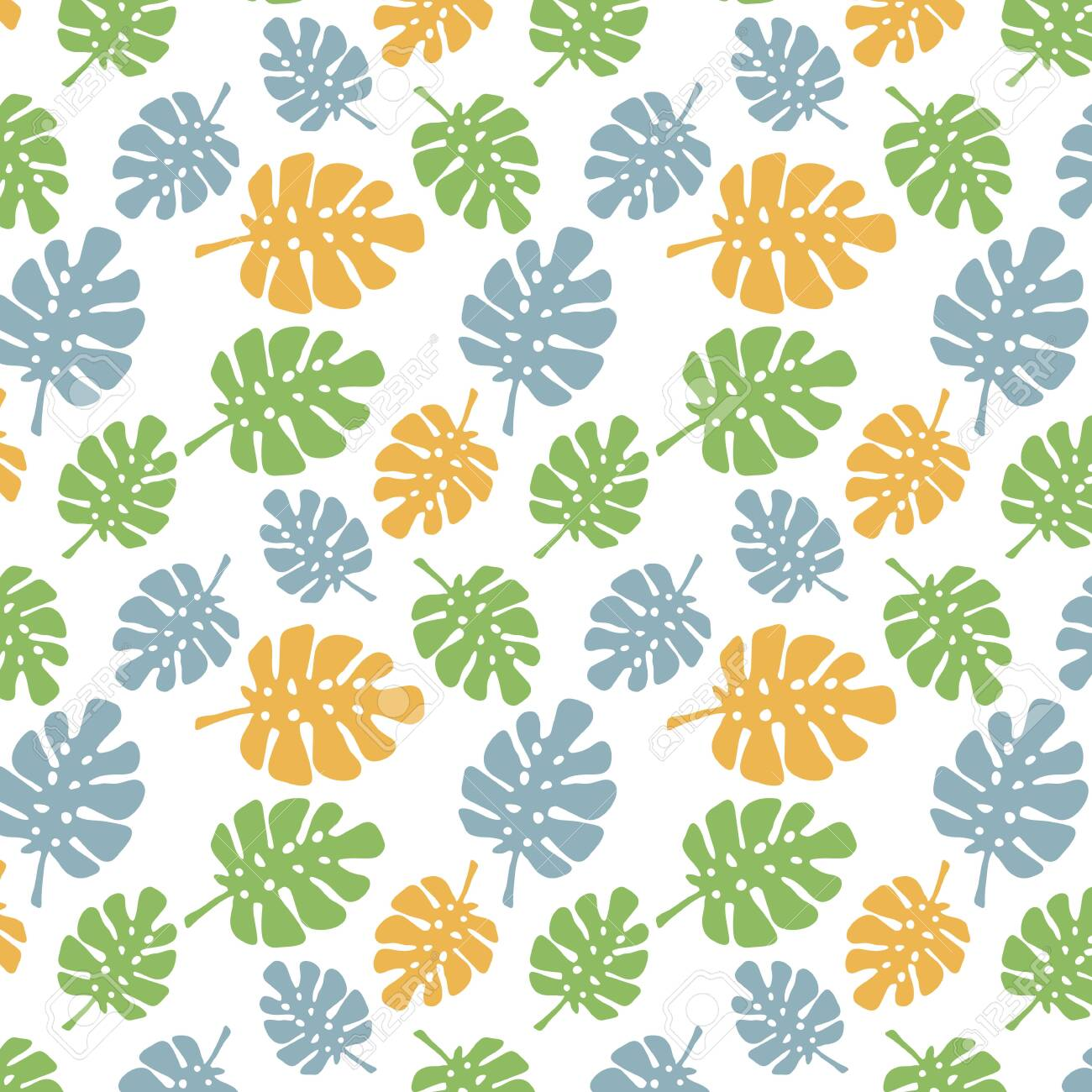 Abstract Seamless Pattern Blue Orange Green Palm Leaf Vector Royalty Free Cliparts Vectors And Stock Illustration Image 140755889