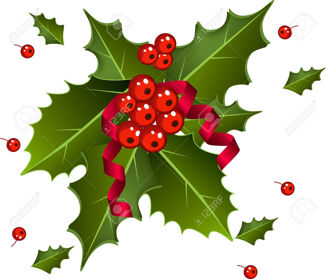 Christmas Leaves.Christmas Berries With Red Ribbon And Green Leaves Over White